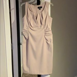 Strapless Khaki one piece dress with V neckline
